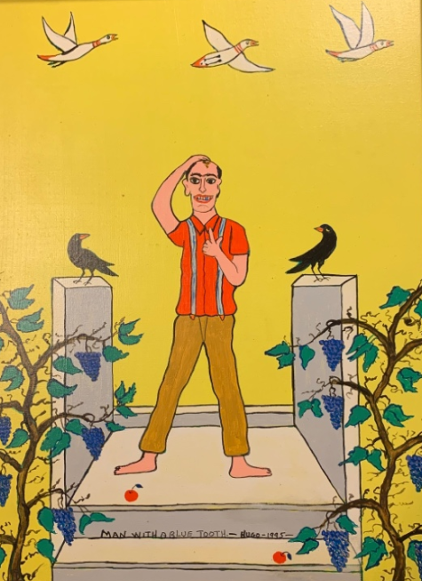 Painting of a mand standing in a garden between crows